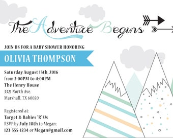 The Adventure Begins Baby Shower Invitation, DIY Baby Shower Invite, Download Baby Shower Invite, Baby Shower Invitation