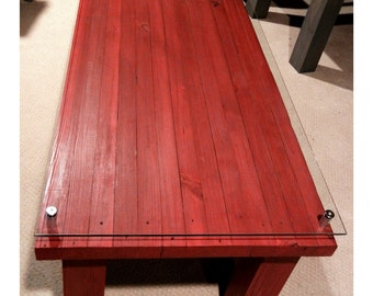 Reclaimed Red Glass-top Coffee Table