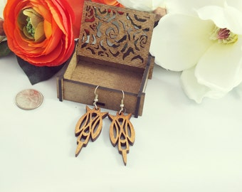 Laser cut wood earrings #5