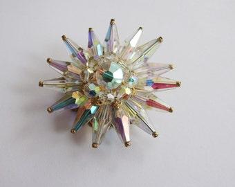 Vintage Aurora Borealis Crystal Burst Rhinestone Brooch