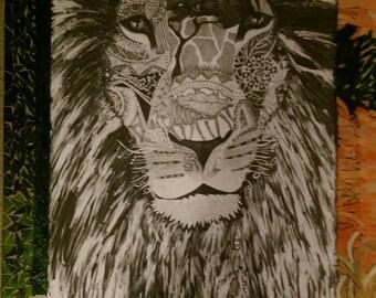 Mandala Lion with Mosaic Glass Frame