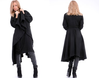 Black Coat / Asymmetric Coat / Extravagant Coat / Spring Coat / Long Coat / Layered Coat / Women Jacket / Long Jacket / Black Jacket