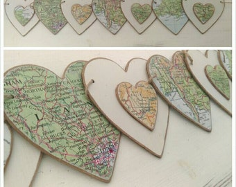 Customised Map Wooden Bunting