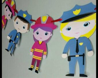Policeman/Fireman Banner, Police/Fire Garland, First Birthday Banner