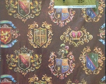 Coat of Arms Gift Wrap - Greetings - Vintage 1960 Masculine Wrapping Paper - 2 Sheet Package - Brown Background with Shields Armor and Crown