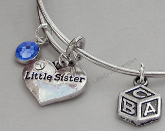 Girls -  Little Sister / BABY Block Charm Bangle  W/ Birthstone / Initial Charms New Mothers  Gift For Her Usa F1