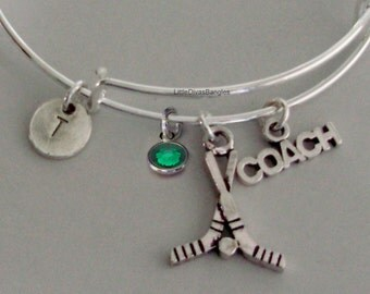 FIELD HOCKEY Coach  Bangle Bracelet Personalize W/ Initial / Birthstone Drop / Under Twenty / Usa Gift For Her - Made in Usa H1