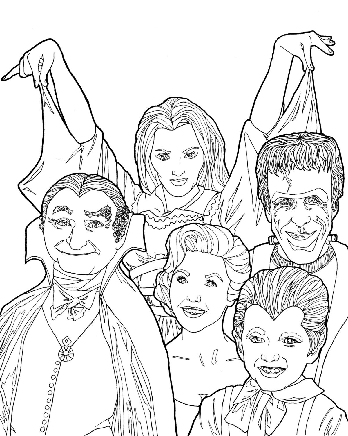 DIGITAL DOWNLOAD Munsters Coloring Book Page Halloween