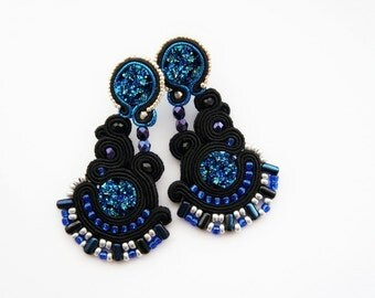 soutach earrings, shiny, soutache, blink