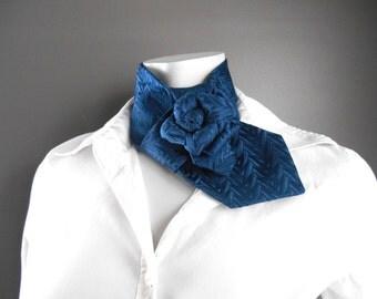 Woman ascot, necktie necklace, refashioned necktie, navy blue silk necktie, unique neck accessory, handmade upcycled necktie