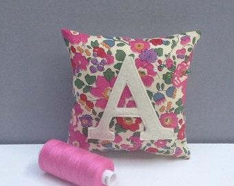 Initial Liberty Print Pin Cushion/Personalised Liberty Print Pincushion/Liberty Print sewing accessory/personalized pincushion