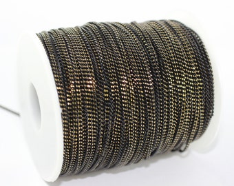 5 meters - 16,5 Feet (2 mm) Antique Curb Chain , Gold and Black Ton , Brass Soldered Chain, Brass Chains - Necklace Chains