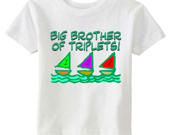 Brother of Triplets - Big Brother of Triplets Sailboat Tee