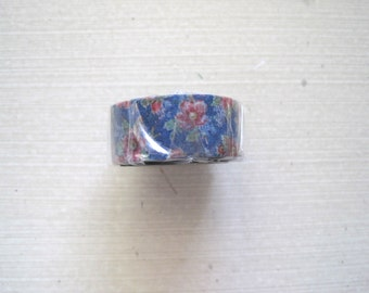 Blue floral Japanese washi tape, Maste