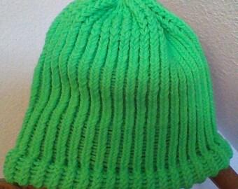 Neon Green Knit Hat