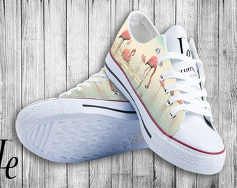 Sneakers Flamingo/Digital-Painted on Shoes/Shoes/Sneakers/For Men Women Kids