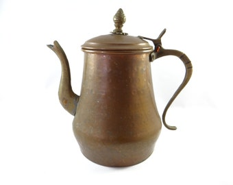 Copper Pitcher, Vintage Copper Pitcher, Vintage Rustic Pitcher, Rustic Copper, Vintage Copper Pitcher With Hinged Lid