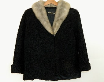 Vintage 50's Persian Lamb Silver Mink Collar Cropped Swing Coat