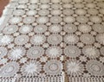 1950's White Crochet Tablecloth.