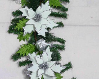 6' White Christmas Poinsettia Garland