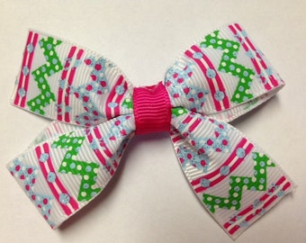 "3"" bubble chevron shocking pink green light blue stripe chevron hair bow clip birthday party favor pinwheel spring summer bubbles hot pink"