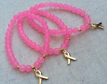 Pink Breast Cancer Awareness Beaded Bracelet