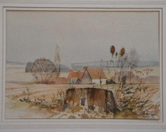 Original Watercolour Painting- Farmhouse in a  Landscape  -'Autumn 81' Signed Eric Hodges