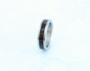 Black Palm and Titanium Ring, Exotic Hardwood,Wood inlay Ring,titanium and wood rings, rare wood,wedding ring