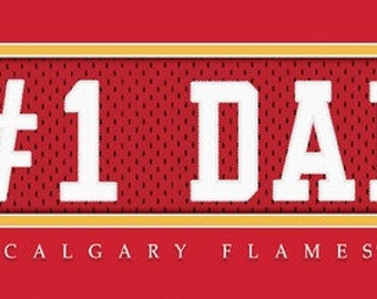 Calgary Flames-Free Shipping-#1 DAD Jersey Stitch Framed Print-NHL