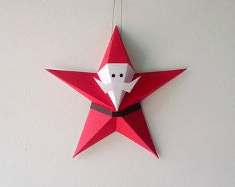 3d origami star etsy fr - Origami pere noel ...