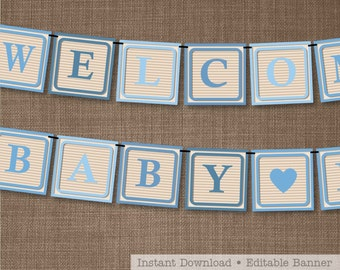 Baby Shower Banner - Blue Baby Shower Banner - Alphabet Blocks Banner - Blue Alphabet Blocks - Print and Assemble yourself at home!