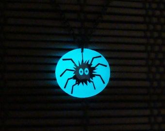 Glowing Necklace - Glow Spider - Aqua Necklace - Glowing Funny Necklace - Glow in the Dark Pendant - Glowing Spider - Holiday Jewelry - Gift