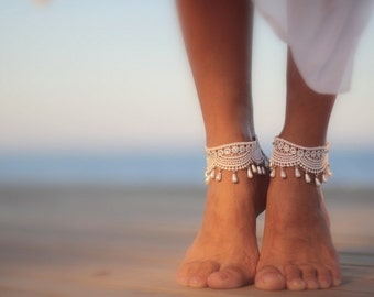 Droplets wrapped in guipure beach wedding barefoot sandals, bangle,cuff, wedding anklet,nude shoes,barefoot sandal,ankle cuff