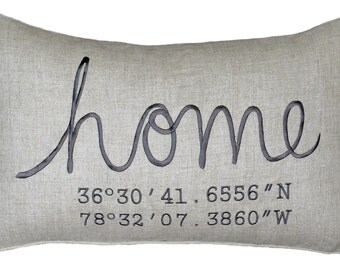 Free Shipping-Housewarming Gift, Wedding Gift, New Home Gift, Coordinates Pillow Cover, Longitude Pillow Cover Embroidered Throw Pillow