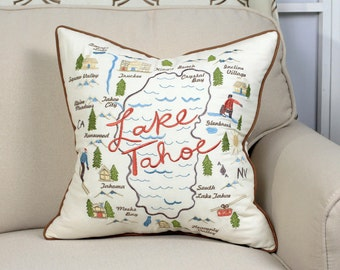 Pillow/Cushion cover - Lake Tahoe Embroidered
