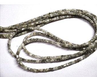 ON SALE 50% Rough Diamonds - Natural Rough Faceted Diamond Beads, Drum Shaped - Approx 2mm To 1mm Each - 5 Ctw - 4 Inch Strand