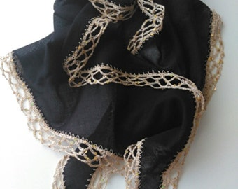 Black Cotton  Scarf  With Handwork Crochet Trim  Scarf Authentic and   Elegance     Women Accessory    HandmadebyNadya