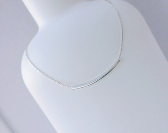 Silver Curved Tube Sterling Silver Necklace/Silver Tube/Curved Tube/Delicate/Everyday Wear/Long & Layered/Gift/Choker/Bridal/uk