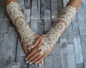 Gold Champagne lace Wedding gloves french lace gloves  bridal gloves fingerless champagne gloves  lace gloves free ship
