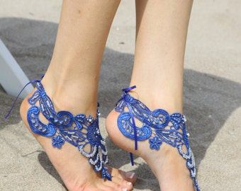 Free Ship lace sandal, navy blue sandals, navy blue feraboot sandals, royal blue sandals, royal blue sandals barefoot sandals, barefoot