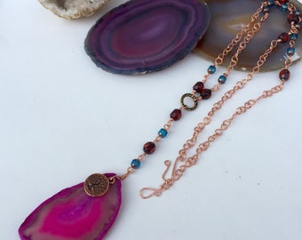 Bohemian Necklace-Cristal Necklace-Agate handcrafted copper chain and Czech Glass Beads