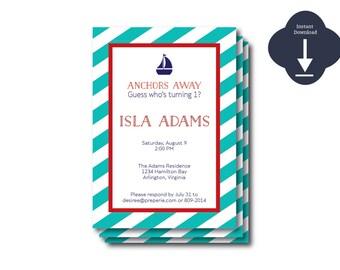 INSTANT DOWNLOAD - Red/Aqua Preppy Nautical digital Template, Sailing Shower, Nautical Party, Sailing Invitation, DIY Nautical Background)
