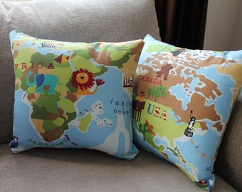 World Map cushion cover