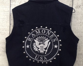 Ramone's Metal Studded Black Denim Vest