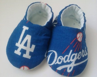 L.A. Dodgers inspired baby fabric slippers