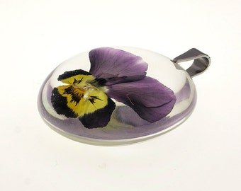 Real Pansy Pendant - Resin Jewelry