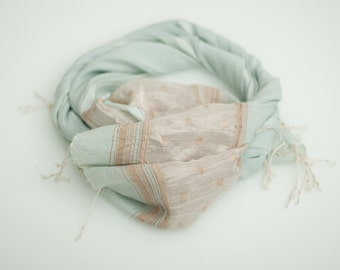 Light Summer Scarf Beach Scarf Khadi Handwoven Scarf Light Blue Scarf Summer Fashion Cotton Scarf Gift For Her