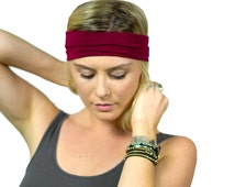 Wine stretch workout headband, yoga hair accessory, women's bohemian hair accessories, tame flyaway headband, yoga head wrap