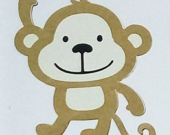 5 Monkey Embellishment Card Topper / Craft / Scrapbooking