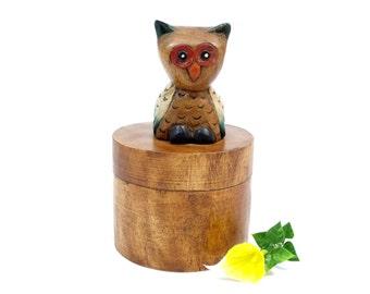 Vintage Owl Box - Owl Lidded Box - Vintage Wood Keepsake Box - Wooden Owl Trinket Box - Owl Keepsake Box - Owl decor -